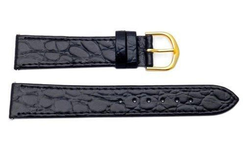 Timex Mens Black Padded Crocodile Grain 18mm Watch Band
