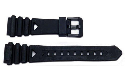 Seiko Black Rubber Tapered Edge With Black Buckle 20mm Watch Strap