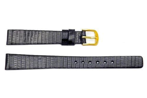 Seiko Black Genuine Lizard Leather 13mm Watch Strap