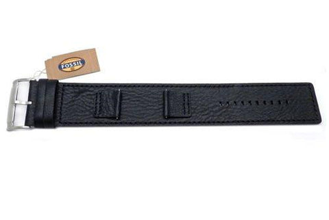 Fossil Black Smooth Genuine Heirloom Leather 22mm Wide Watch Cuffband