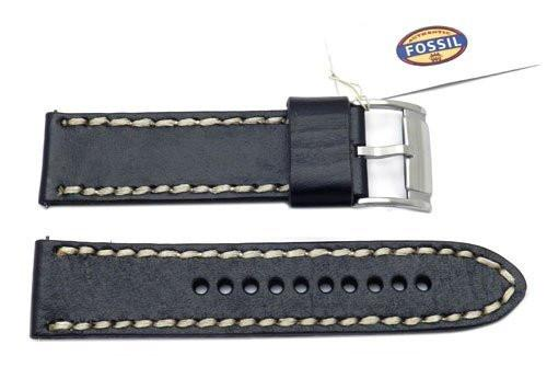 Fossil Black Genuine Leather 24mm Watch Band With White Stitching