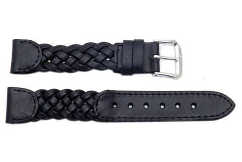Braided Genuine Smooth Black Leather Watch Strap