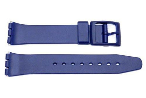 Navy Blue Smooth Swatch Style Watch Strap - B-P150