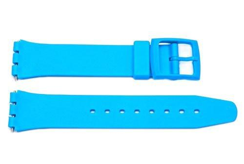 Light Blue Smooth Swatch Style Watch Strap - B-P153