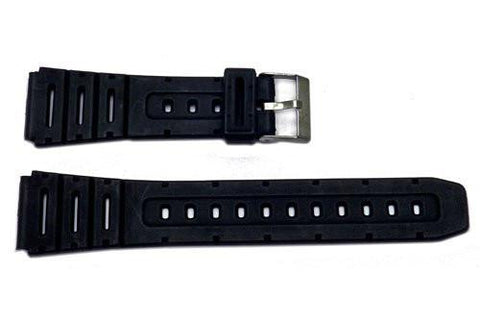 Black Rubber 20mm Watch Strap - B-RUB1
