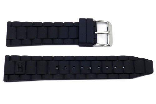 Genuine Silicone Link Style 22mm Black Watch Band