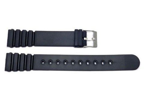 Black Rubber Fit Tag Long Watch Band