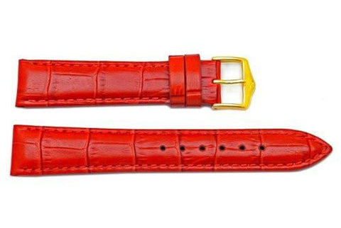 Genuine Textured Leather Alligator Grain Anti-Allergic Red Watch Band