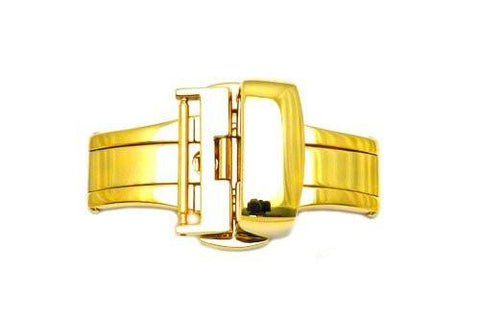 Hadley Roma Gold Tone Push Button Butterfly Deployment Clasp