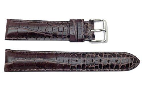 Genuine Alligator Grain Leather Dark Brown Watch Strap