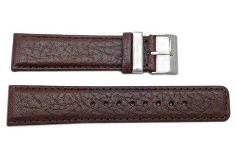 Kenneth Cole 22mm Genuine Grained Leather Brown Watch Band