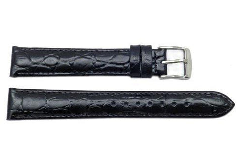 ZRC Genuine Classic Black Leather Crocodile Grain Watch Strap