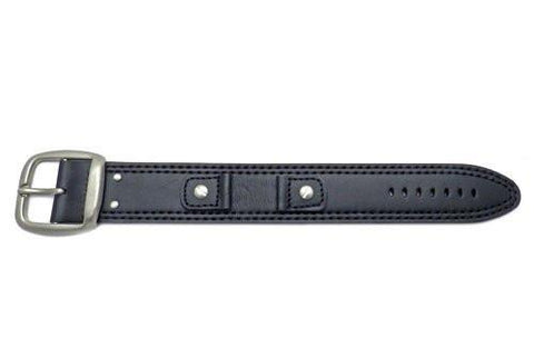 Hadley Roma Smooth Oil Tan Black Leather Cuff Band