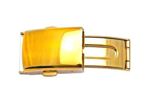 Hadley Roma Polished Gold Tone Push Button Fold Over Buckle
