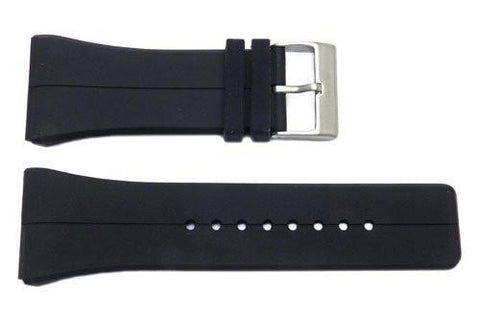 Kenneth Cole 28mm Black Polyurethane Watch Band With Silver Buckle