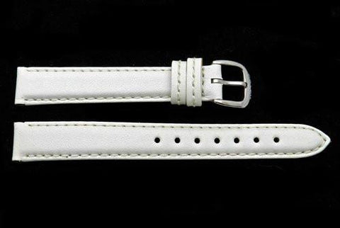 Genuine Coach White Smooth Leather 13mm Watch Band