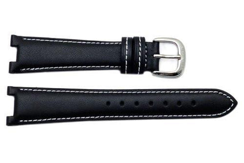 Genuine Coach Black Smooth Leather 18/10mm Watch Band