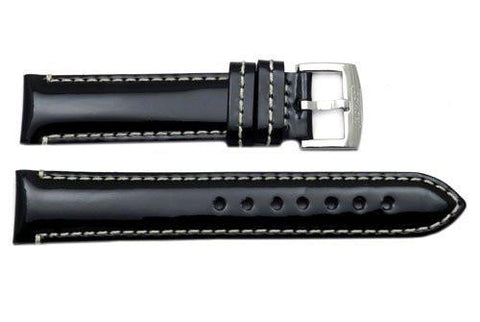 Genuine Coach Black Glossy Leather 18mm Watch Band