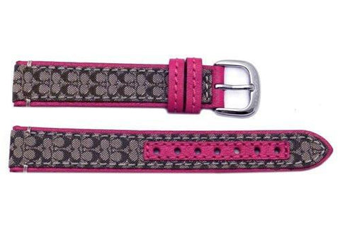 Genuine Coach Fuchsia Smooth Leather 15mm Monogram Watch Band