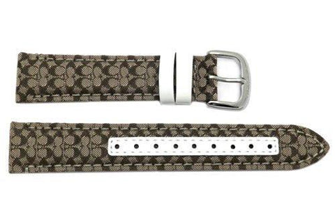 Genuine Coach Brown Smooth Leather 17mm Monogram Watch Band