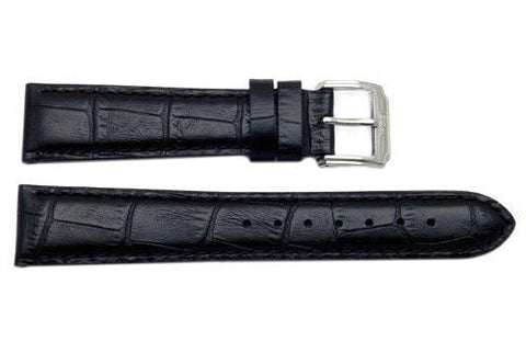 Genuine ESQ Black Crocodile Grain Textured Leather 19mm Watch Strap