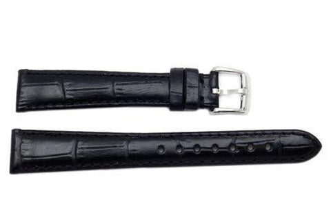 Genuine ESQ Black Crocodile Grain Textured Leather 15mm Watch Strap
