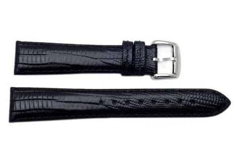 Genuine ESQ Black Lizard Grain Textured Leather 19mm Watch Strap
