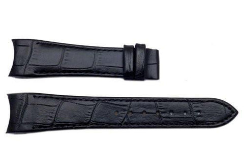 Genuine ESQ Black Crocodile Grain Leather 20mm Watch Band