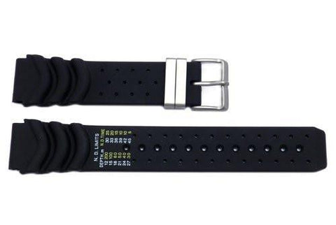 Genuine Citizen Black Rubber Eco-Drive 20mm Watch Strap