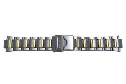 Seiko Dual Tone Push Button Fold Over Clasp With Safety Watch Bracelet