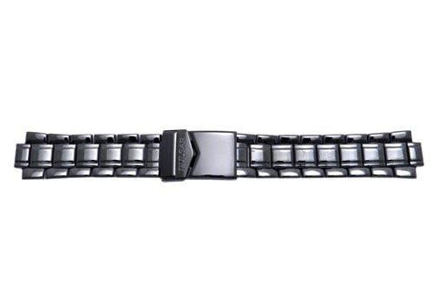Pulsar Black Polished Stainless Steel Fold-Over Clasp Watch Bracelet