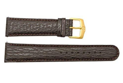 Genuine Wenger Dark Brown Sharkskin Pittard 21mm Leather Watch Strap