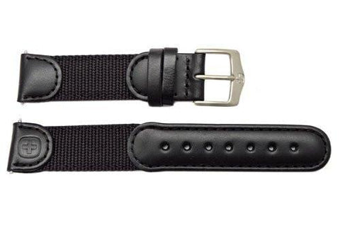 Genuine Wenger Unisex Black 19mm Leather Nylon Watch Strap
