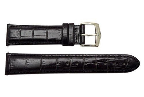 Genuine Wenger Black Alligator Grain 20mm Leather Watch Strap