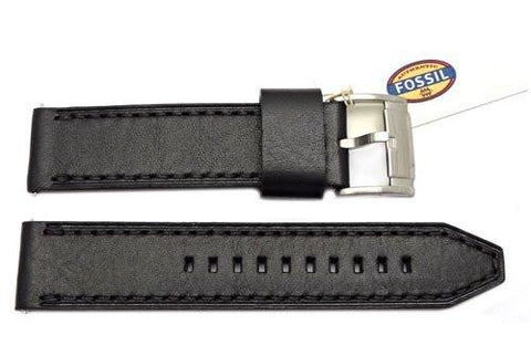 Fossil Black Genuine Smooth Leather Silver Tone Buckle 22mm Watch Band