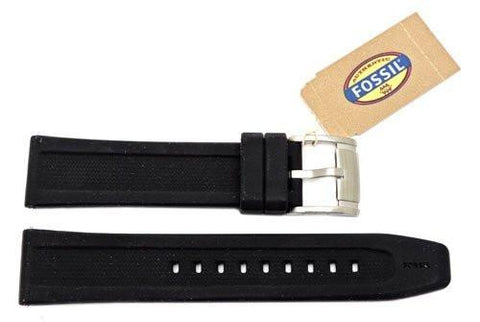 Fossil Black Silicone Logo Imprinted 20mm Watch Band