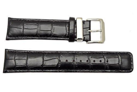 Kenneth Cole Genuine Textured Leather Black Alligator Grain 22mm Watch Band