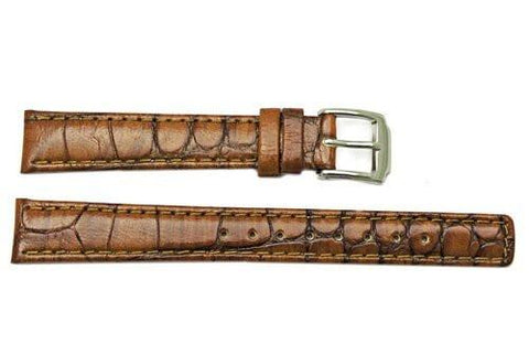 Kenneth Cole Semi Gloss Leather Brown Crocodile Grain Square Tip 14mm Watch Band
