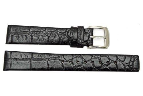 Kenneth Cole Leather Black Crocodile Grain Square Tip 16mm Watch Band