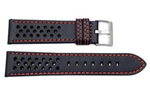 Genuine Leather Racing Style With Contrast Stitching Watch Band