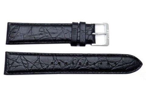 Seiko Black 20mm Leather Crocodile Grain Watch Band