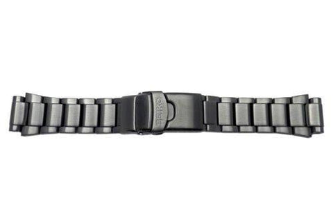 Seiko Black Tone Stainless Steel Three Fold Clasp Watch Bracelet