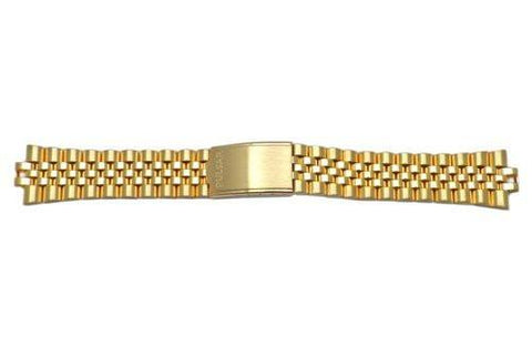 Pulsar Gold Tone Stainless Steel Fold-Over Clasp 20mm Watch Bracelet