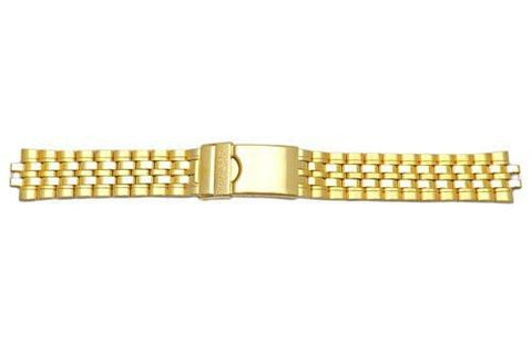 Pulsar Gold Tone Fold-Over Clasp With Safety 18mm Watch Bracelet