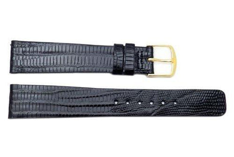 Seiko Black Genuine Lizard Leather 18mm Watch Strap