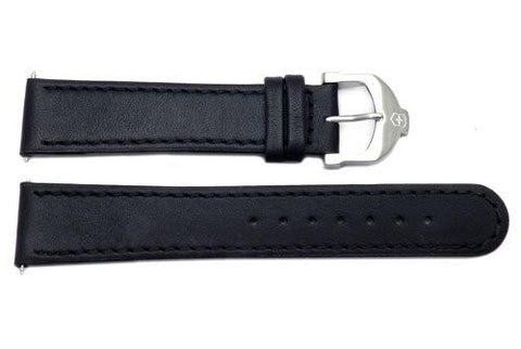 Genuine Swiss Army Black Smooth Leather Cavalier 20mm Watch Strap