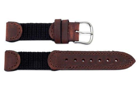 Genuine Swiss Army Brown Leather and Nylon 16mm Watch Band