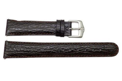 Genuine Wenger Dark Brown Sharkskin 19mm Leather Watch Strap