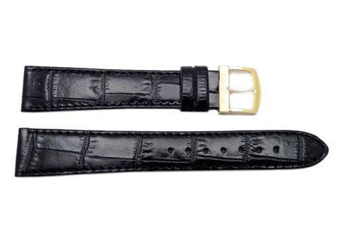 Citizen Black Leather Alligator Grain 19mm Long Watch Band