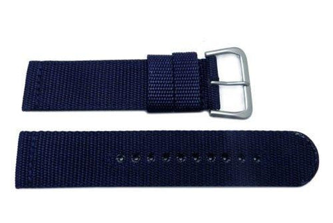Seiko Blue Nylon With Leather 22mm Watch Strap
